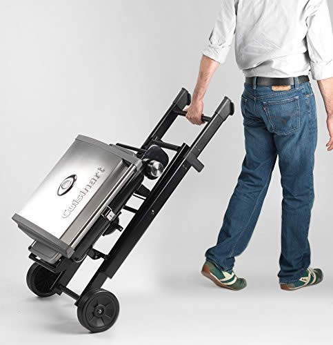 No, you do NOT remove the grill from the cart when you want to move it! It folds down, nice 'n' easy.